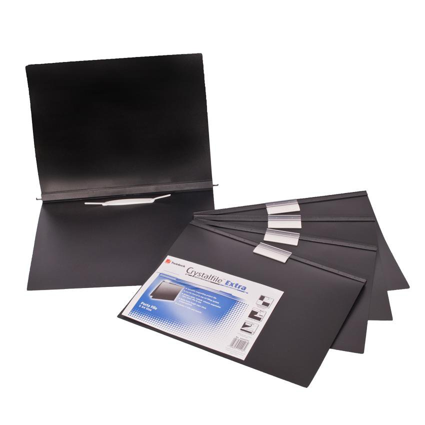 Acco Twinlock Portable Plastic Document Filing Folder -A4-5 Pack-Black