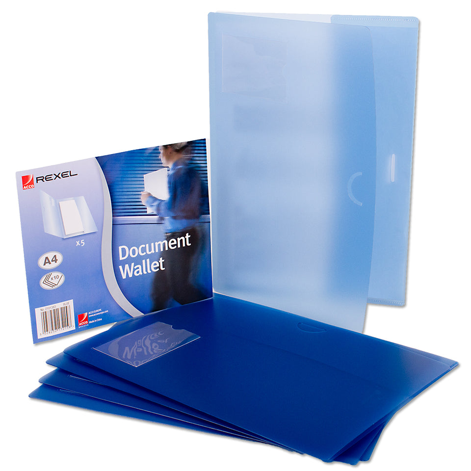 5x Acco Rexel Office Paper Document Organiser Plastic Wallets-A4-Blue