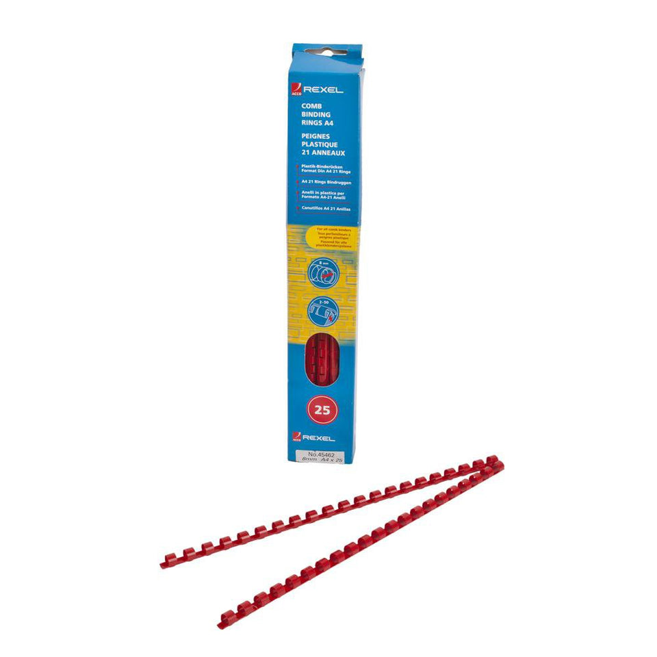 25 x Acco A4 Comb Binding Rings - Red - 8mm