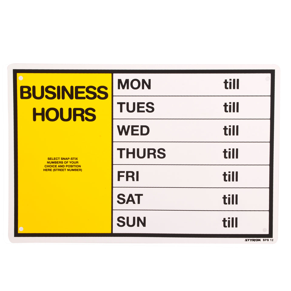 Styrox Business Decal Office Sign-Business Hours Organiser-300 x 200mm