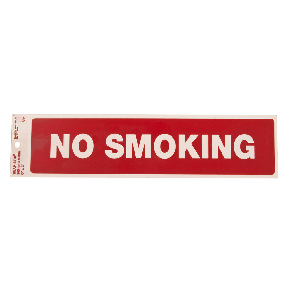 Styrox Business Warning Signs - No Smoking - 200 x 50mm