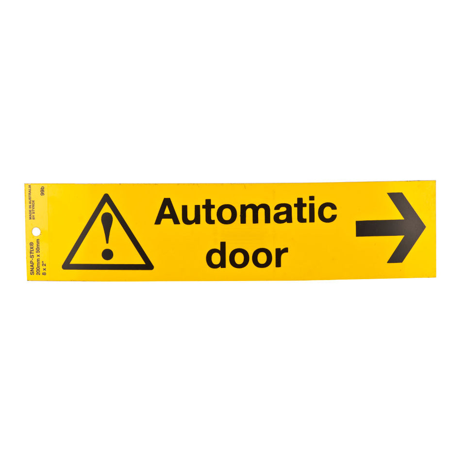 Styrox Warning Sign - Automatic Door - 200 x 50mm
