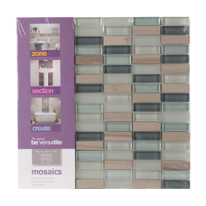 Bathroom & Kitchen Wall Mosaic Tiles - Linear Stone & Glass - 30 x 30cm - Pack Of 10