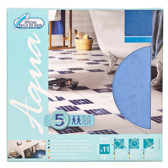 11x Self Adhesive Vinyl Floor Tiles - Solid Blue - 1m2