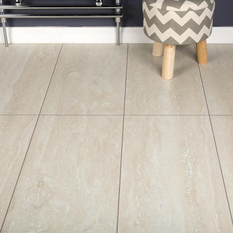 Light Travertine Tile Laminate Flooring - AC4 - 8mm - 2.52m2