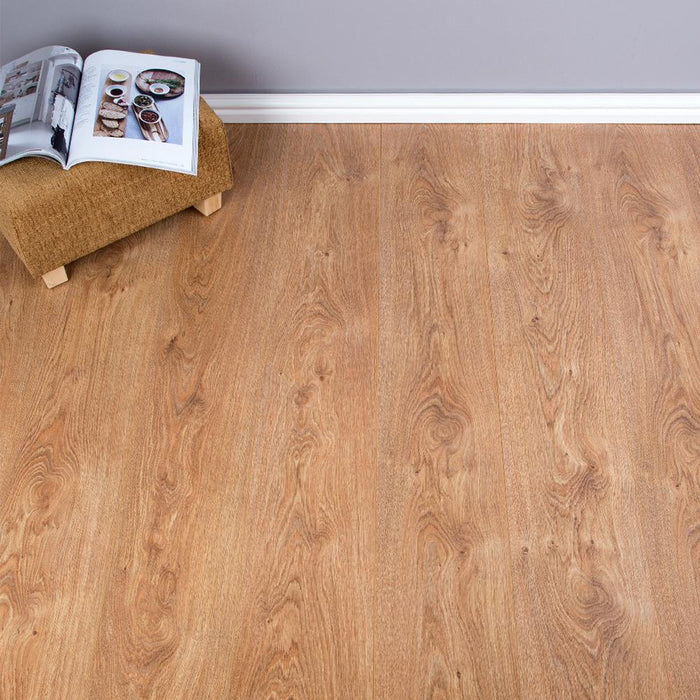 Albany Oak Wood Effect V-Groove Laminate Flooring - AC3 - 8mm - 2.22m2 - SAMPLE