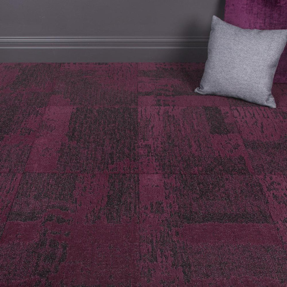 Carpet Tiles - Space Invader Fuchsia/Grey 3.76m2