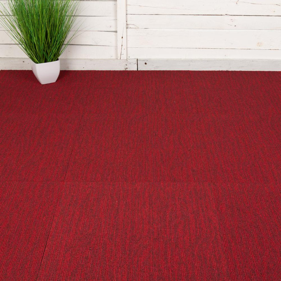 Carpet Tiles - Quality Office Carpet Tiles - Red - 50 x 50cm - m2