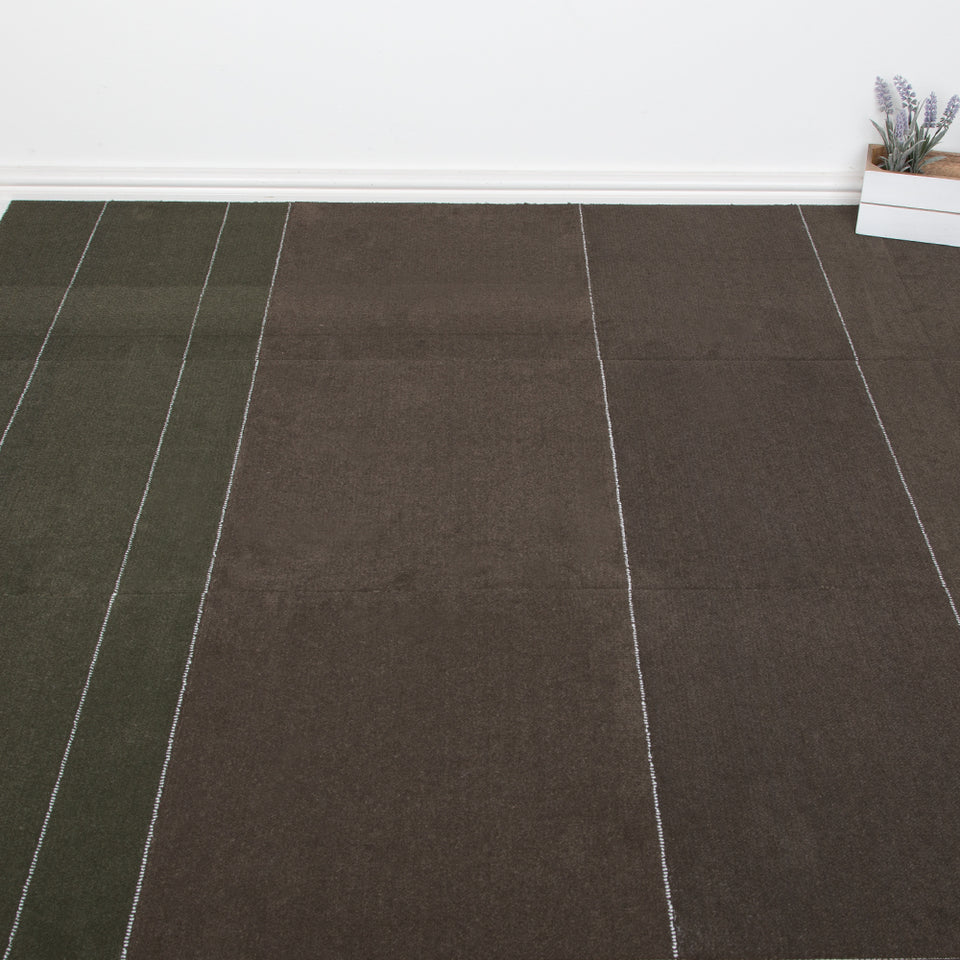 Carpet Tiles - Stripe Design Green/Brown 3.76m2