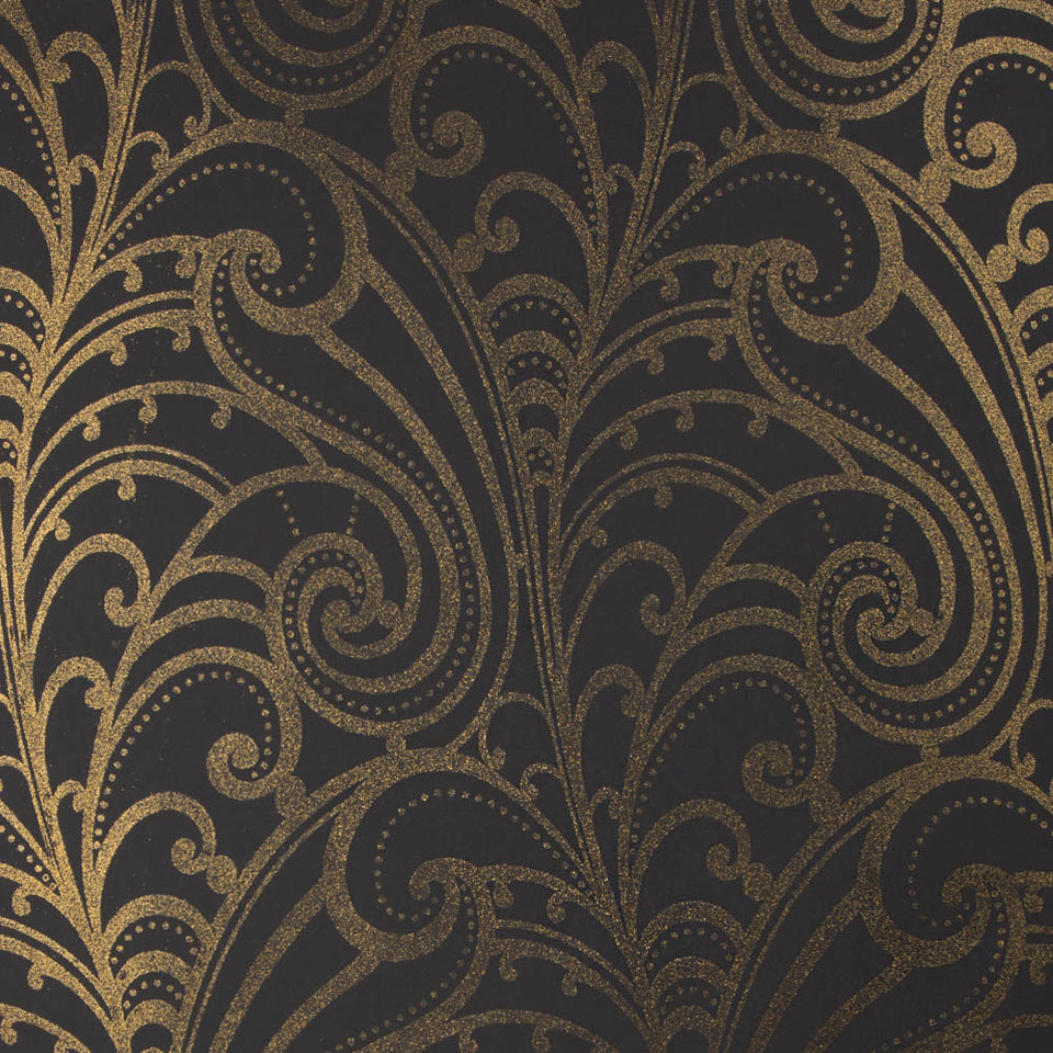 Wallpaper - Designer Glitter Chareau Scroll Wallpaper