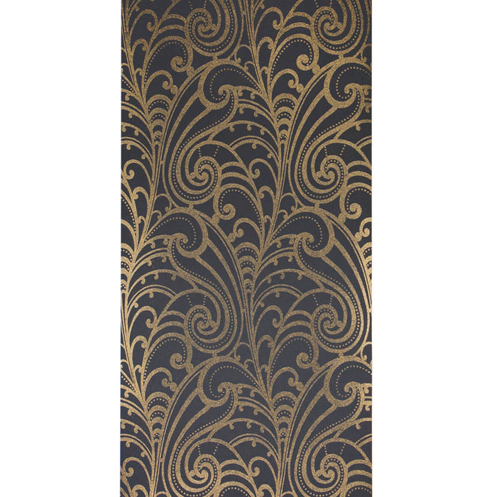 Glitter Chareau Scroll Black & Bronze/Gold Wallpaper