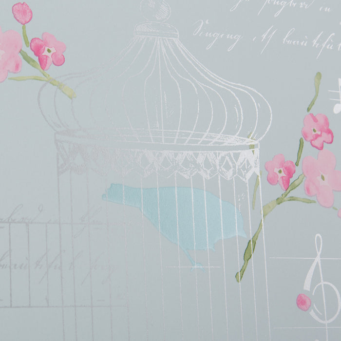 Floral Bird Cage Alice Pink & Teal Wallpaper