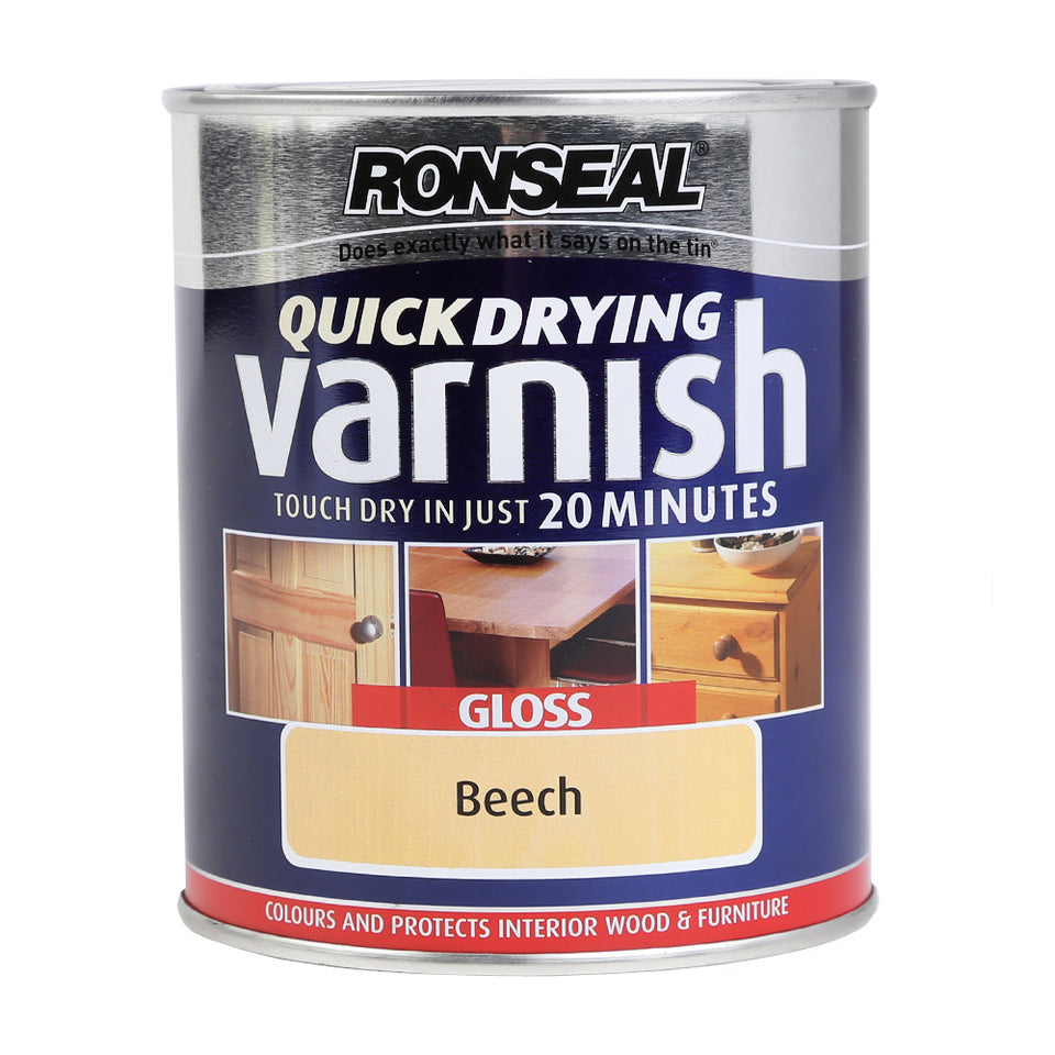 Ronseal Quick Dry Varnish - Wood & Furniture Paint - Gloss Beech 750ml