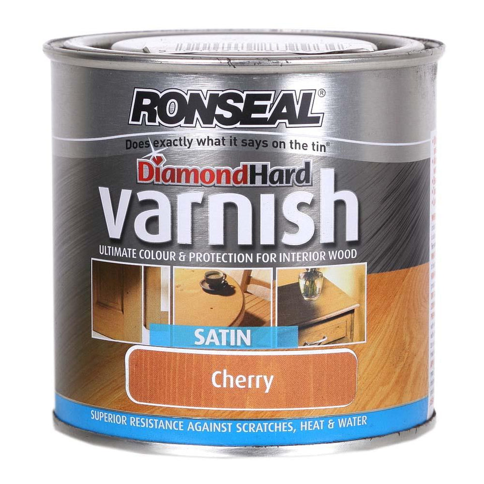 Ronseal Diamond Hard Interior Wood Varnish - Satin - Cherry - 250ml