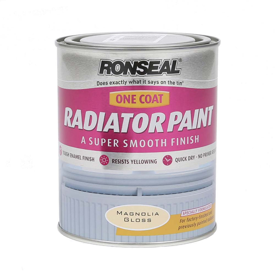 Ronseal Radiator Paint - Smooth Gloss 1Coat - Magnolia - 750ml