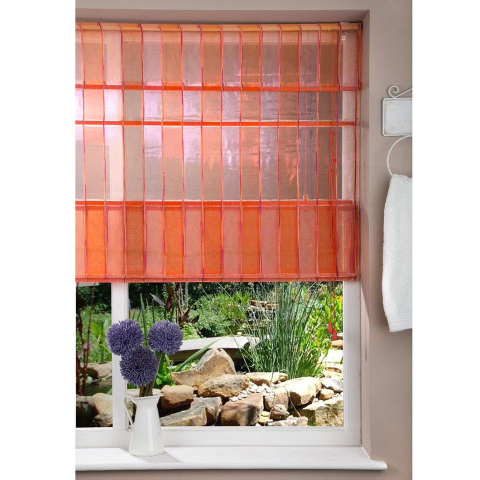 Window Blinds - Fabric Blind Stripe Orange/Pink - 120x160cm