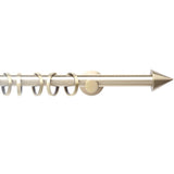 Metal Curtain Pole Set + Cone Finials - Antique Brass - 200cm x 16mm