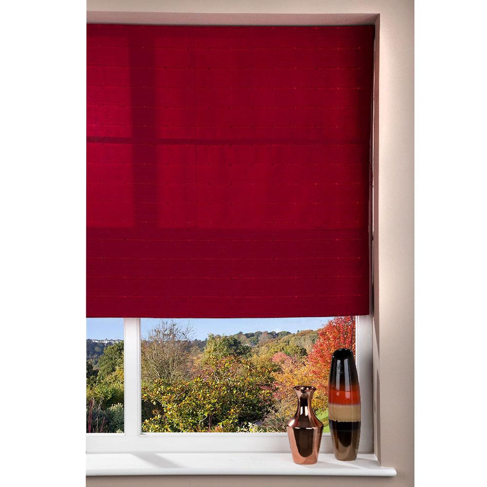 Fabric Roman Shade Window Blind - Cord - Patterned Red - 140 x 160cm
