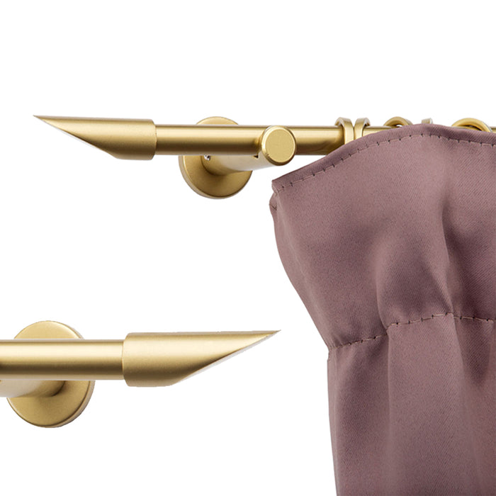 Marbella Metal Curtain Pole & Lipstick Finials - Brass