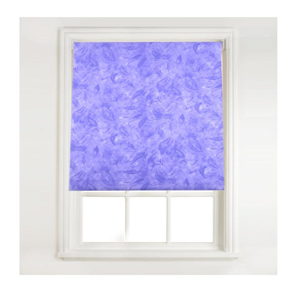Window Blinds - Fabric Roller Blind - Leaf Feather - Lilac Purple - 60cmx160cm
