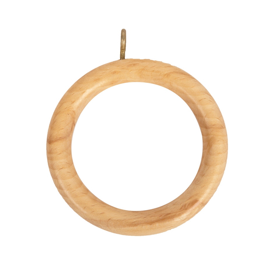4 x Swish Wooden Curtain Rail Rod Pole Hanging  Rings - Natural - 35mm