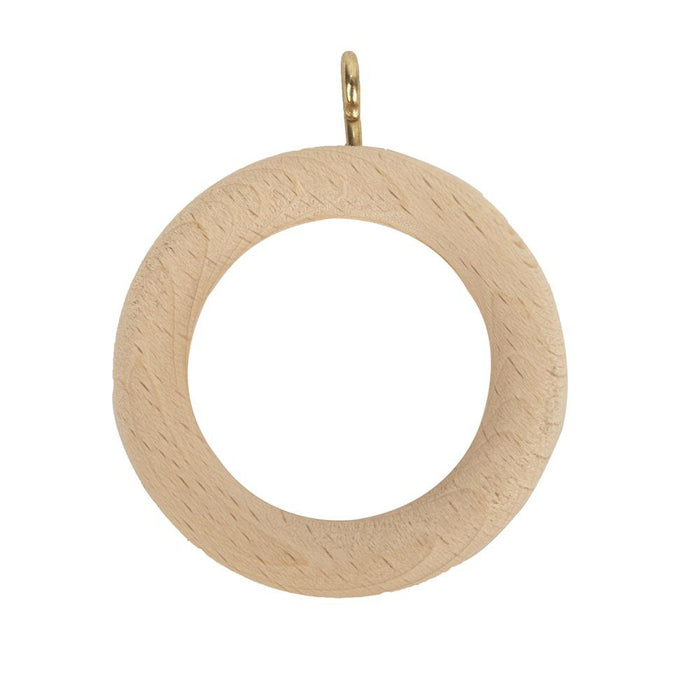4 x Buxton Wooden Curtain Pole Track Rings - Natural - 28mm