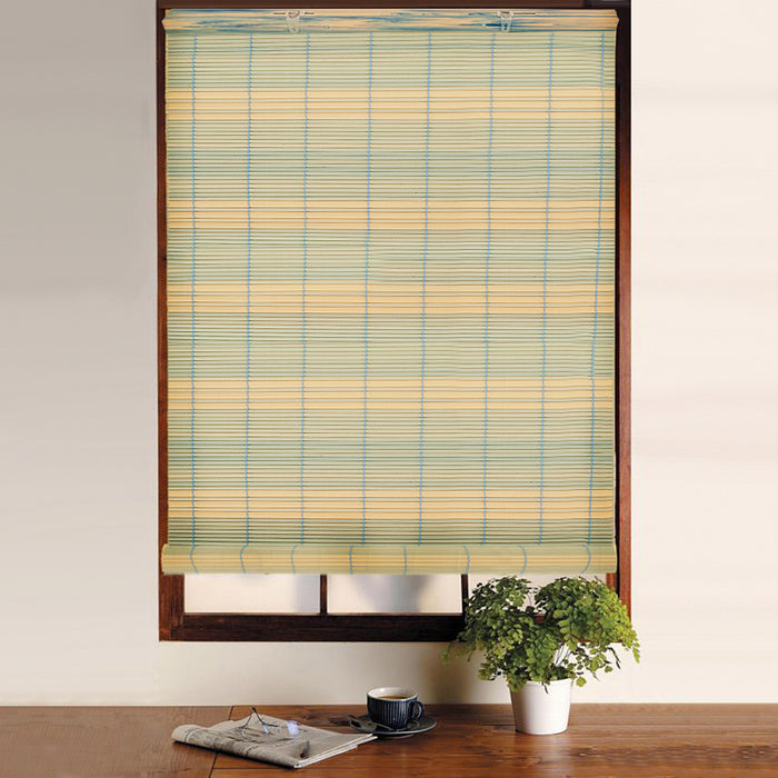 Window Blinds - Swish PVC Roll Up Bamboo Effect Blind Blue/Cream - 120 x 160cm