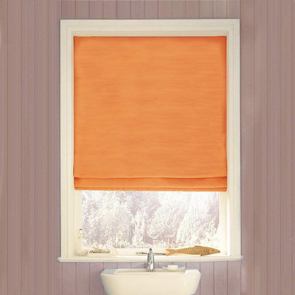 Window Blinds - Swish Easy-Fit Corded Roman Roll-Up Blind-Terracotta-180x160cm