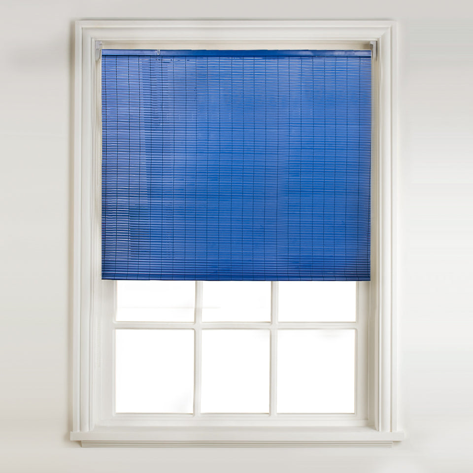 Window Blinds - Swish Easy-Fit PVC Slat Roll-Up Blind-Frosted Navy-180 x 160cm