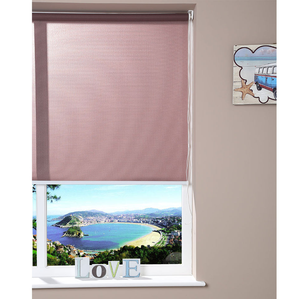 Window Blinds - Easy Fix Roller Blind - Brown - 60cm x 150cm