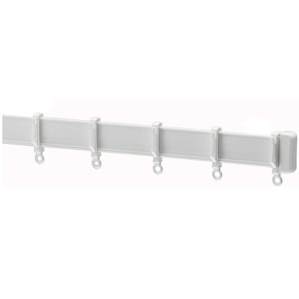 Window Curtain Track Glider Rail w/ Brackets - White - 2.7m