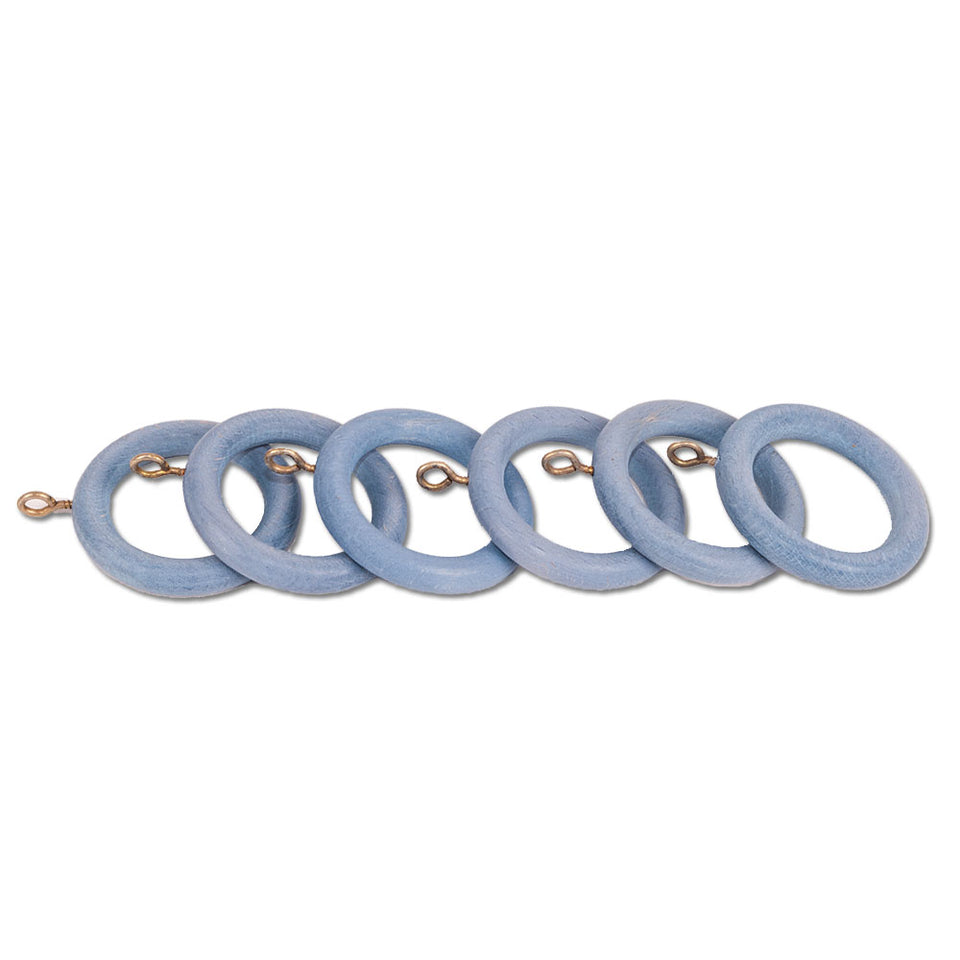 6x Wooden Curtain Pole/Rail Rings - Sky Blue - For Poles Up To 28mm
