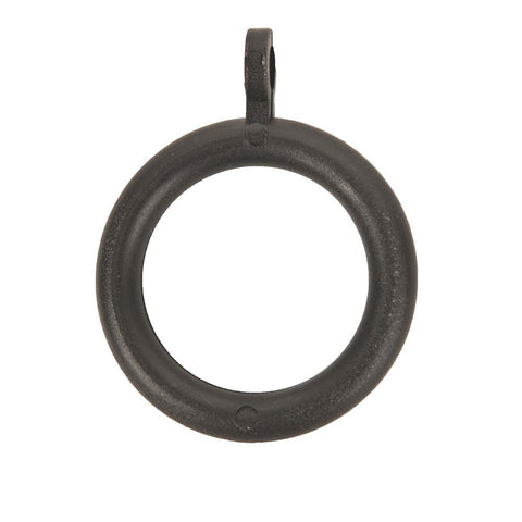 4 x Plastic Curtain Pole Rings - Black - 19mm