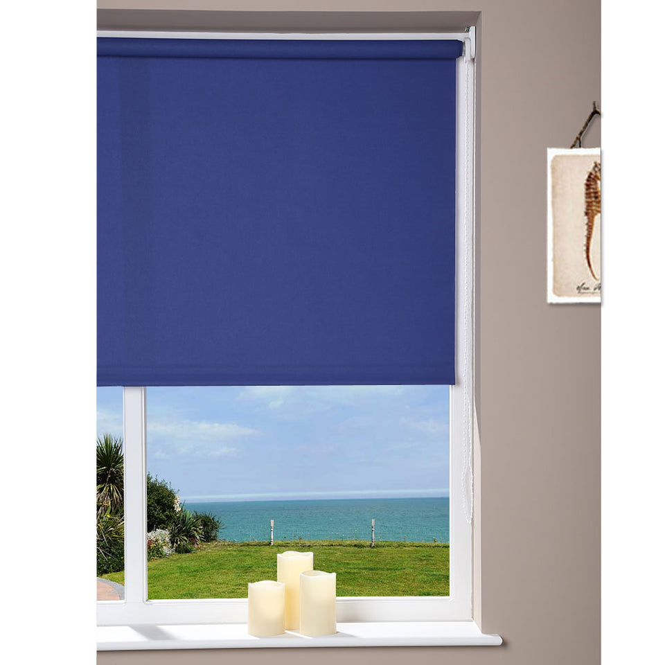 Window Blinds - Roller Blind - Navy Blue - 162 x 180cm