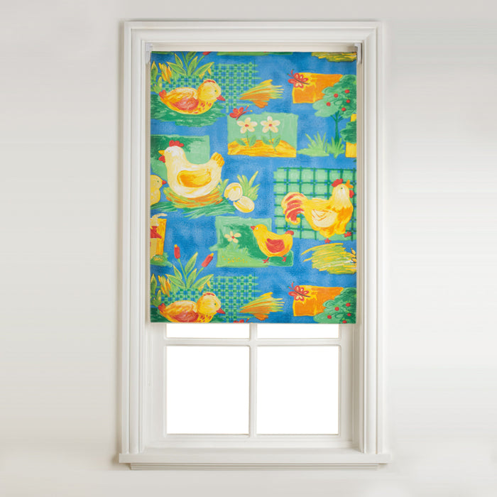 Window Blinds - Sunflex Kitchen Roller Blind - Farm Animals - Blue - 90x160cm