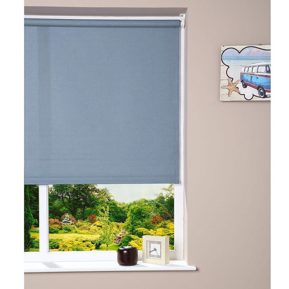 Blinds - Fabric Roller Blind - Powder Blue - 90 x 160cm