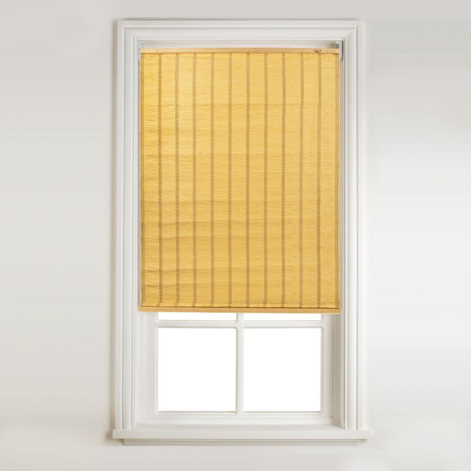 Window Blinds - East Raffia Roll Up Blind Yellow 120 x 160cm