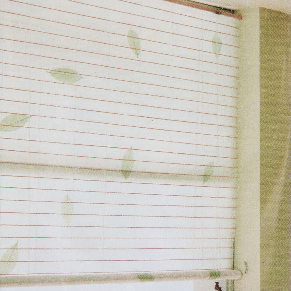 Window Blinds - Roll Up Blind Natural Leaf 120 x 160cm