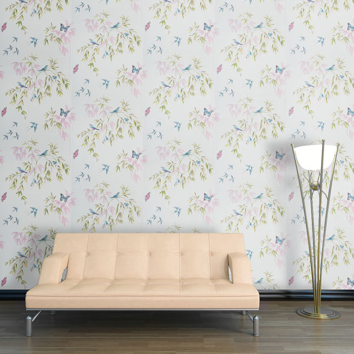 Glitter Halcyon Days Teal Pink Green Wallpaper