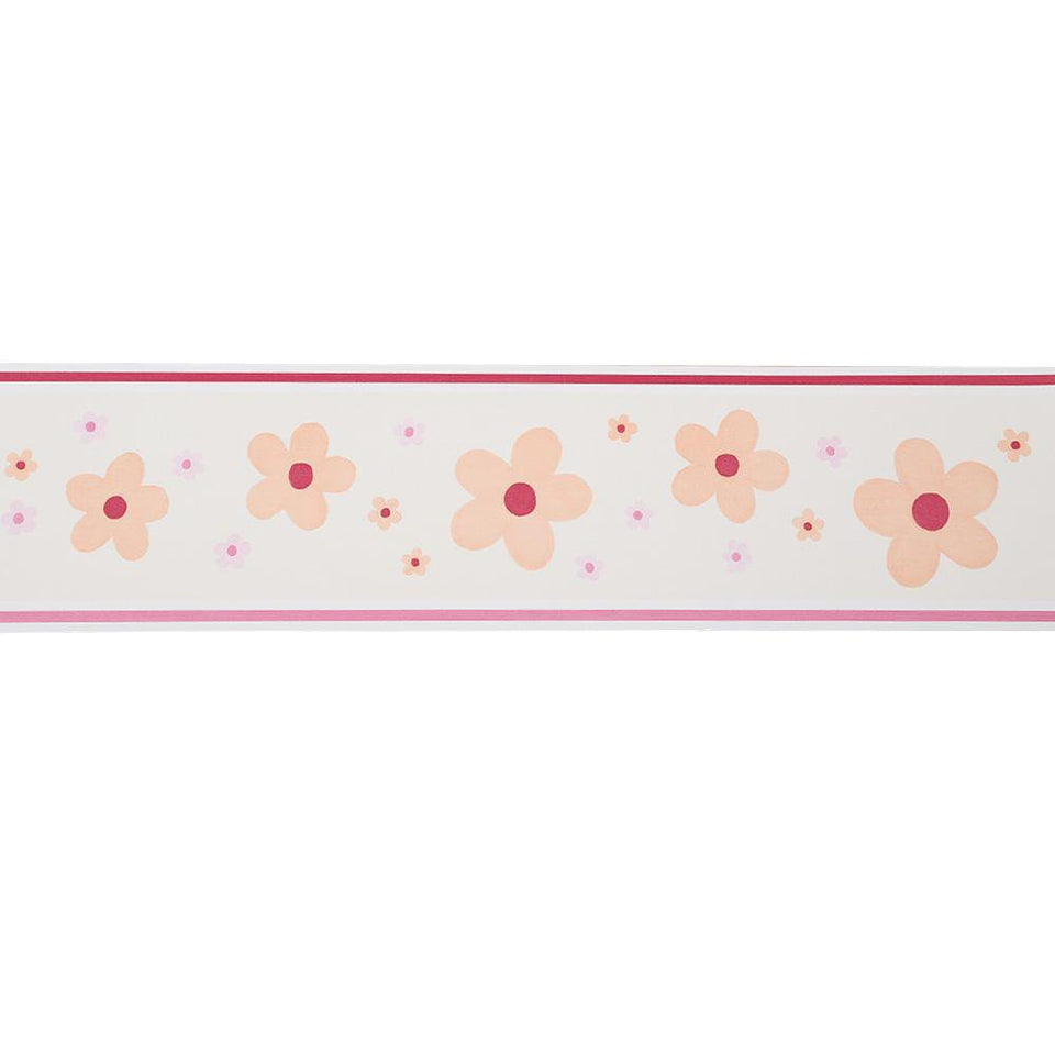 Esta Border Wallpaper Decor - Daisy Cream & Pink - 5m x 13cm - 173792 - SAMPLE
