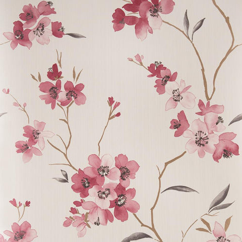 Graham & Brown Wallpaper Enthrall Floral Ruby / Cream