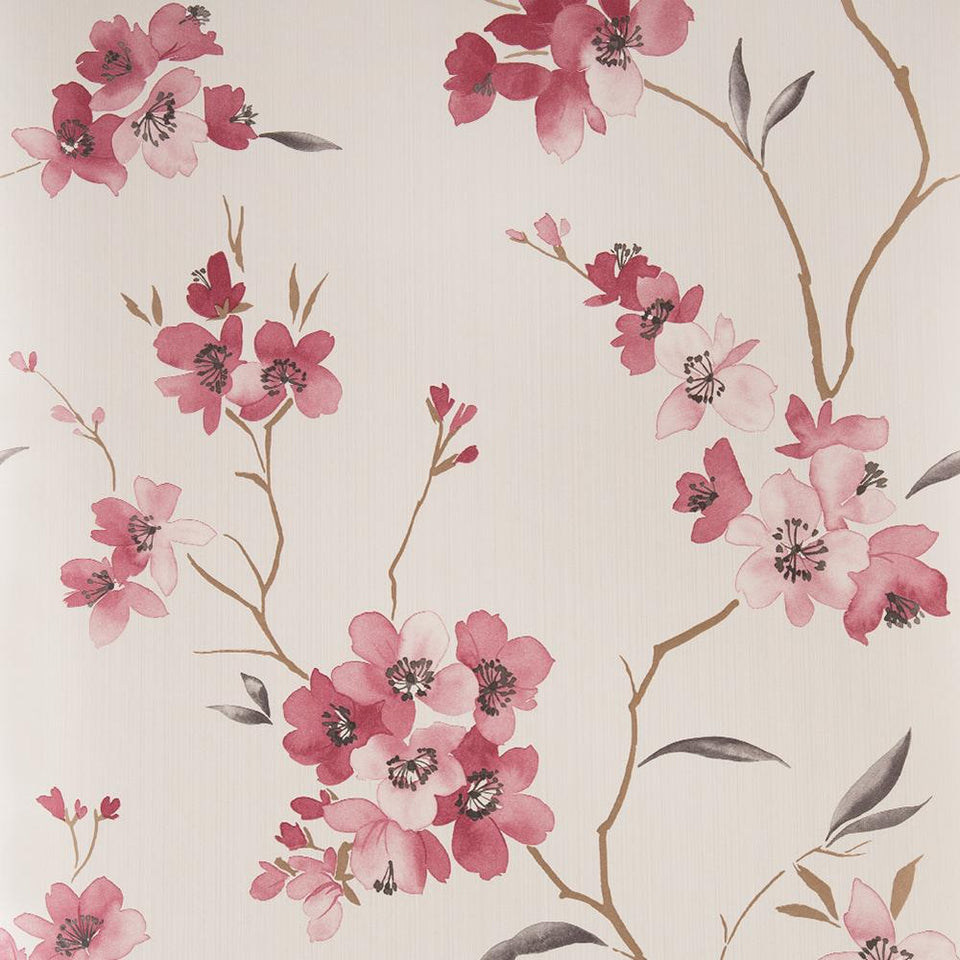 Wallpaper - Graham & Brown Wallpaper Floral Ruby & Cream
