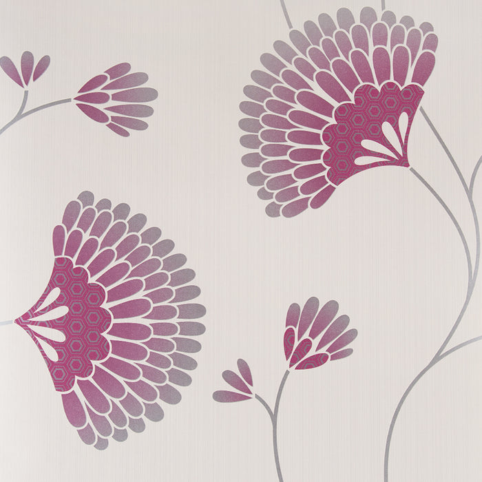 Wallpaper - Graham & Brown Wallpaper Charm Floral Pink Cream