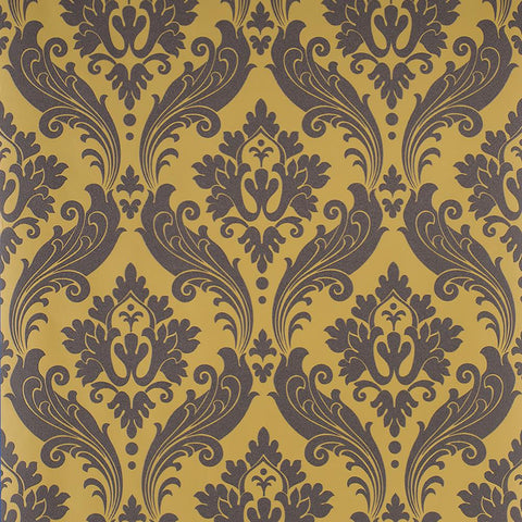 Kelly Hoppen Wallpaper Vintage Flock Damask Ochre Yellow