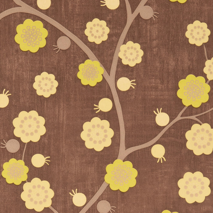 Designer Wallpaper Meadow Blossom Brown