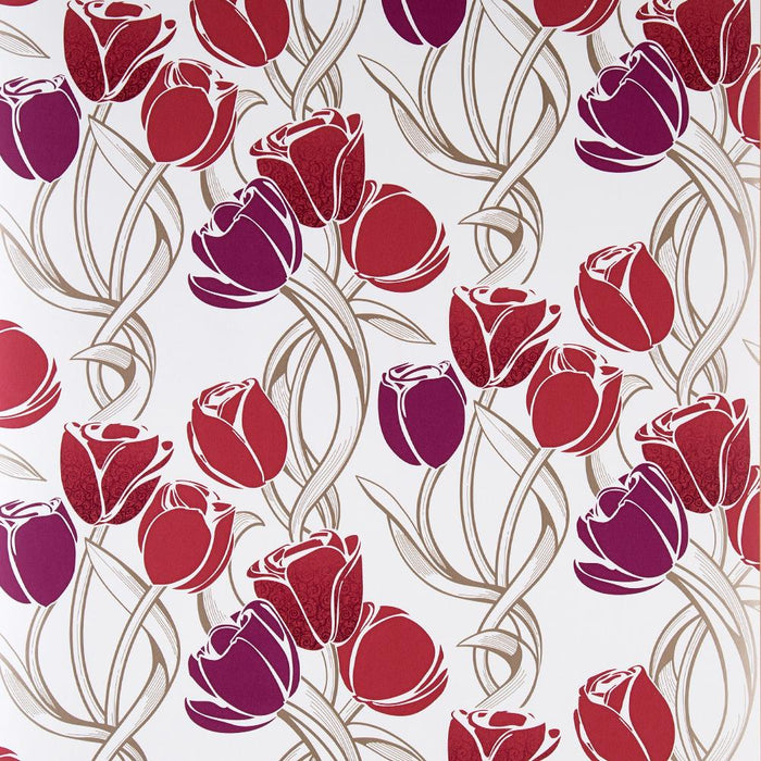 Graham & Brown Wallpaper - Chatanooga Tulips - Scarlet/Pink - 50-531