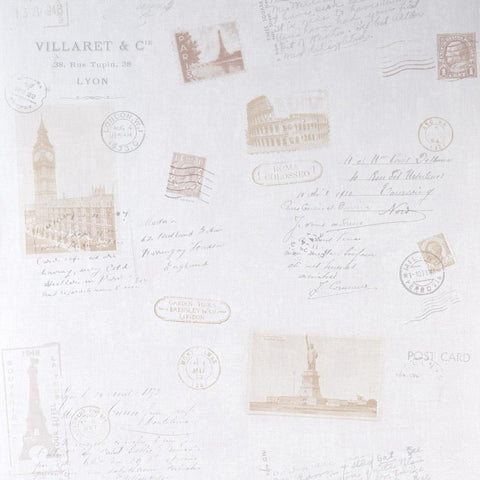 Galerie Post Card Patterned White & Brown Wallpaper