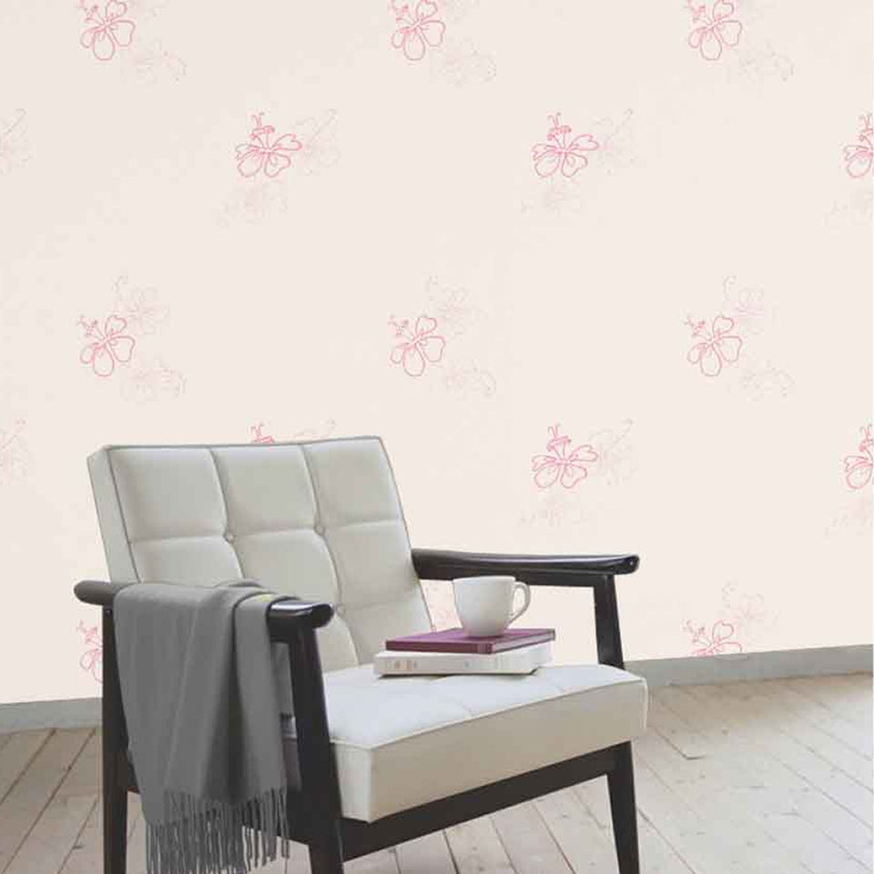 Harlequin Wallpaper Roll - Decor - Get Groovy Flowers Cream/Pink 70603 - SAMPLE