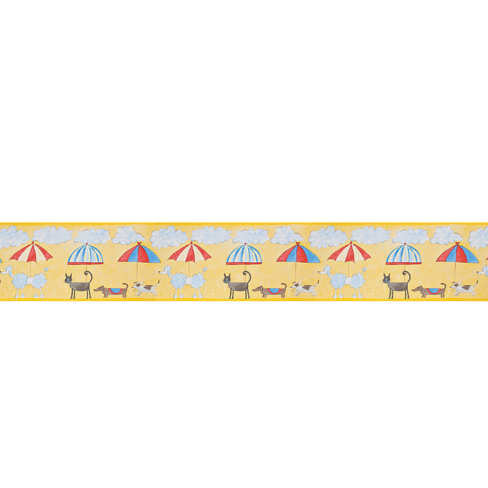 Harlequin Border Cats & Dogs Yellow  Wallpaper