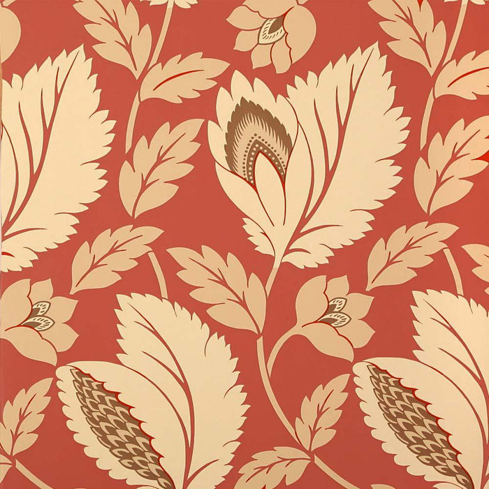 Wallpaper - Sanderson Wallpaper Aerial Red & Cream